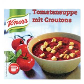Incup gef. m.  Knorr - Tomatensuppe Croutons 1 Sta. 25 Becher