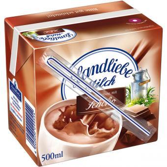 Landliebe H-Milch Schoko mit Trinkhalm 12x 0,5l