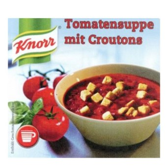 Incup gef. m.  Knorr - Tomatensuppe Croutons Stange a 25 Becher
